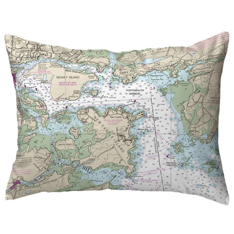 Highland Dunes Rother Portsmouth Harbor Nh Nautical Map Indoor Outdoor Lumbar Pillow Wayfair