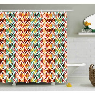 Hiedi Hexagonal Shape Retro Print Single Shower Curtain