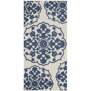 Oakmont Cream/Blue Indoor/Outdoor Area Rug
