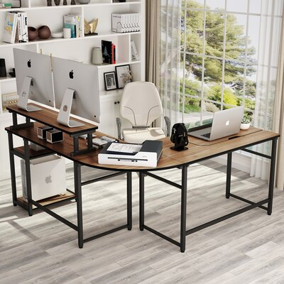 Latitude Run Chiqueta Height Adjustable L-Shaped Desk with Hutch  Color: Walnut