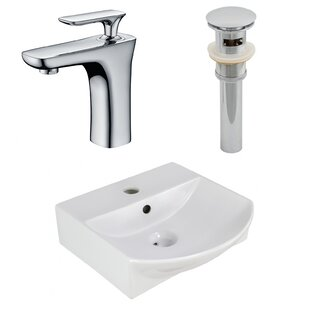 Compare prices Ceramic U-Shaped Bathroom Sink with Faucet and Overflow ByAmerican Imaginations