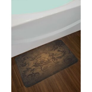 Floral Seal Brown Chocolate Victorian Bath Rug