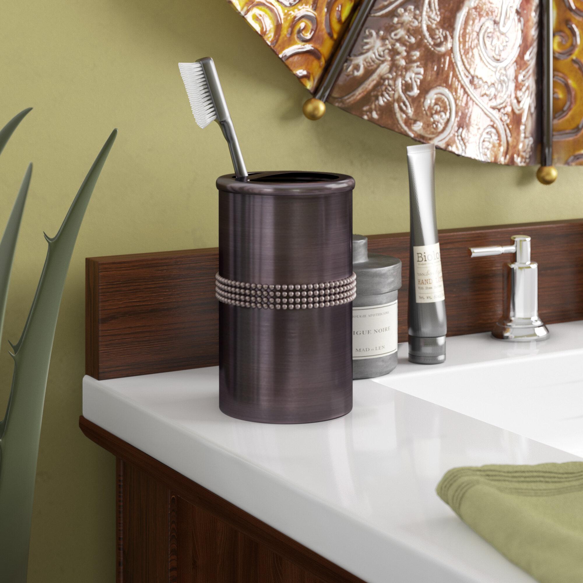 Oil Rubbed Bronze Toothbrush Holder Bathroom Countertop Stand Storage Organizer