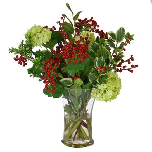 Berry Snowball Mixed Floral Arrangement in Vase