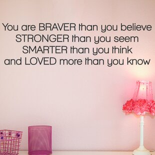 Braver Than You Believe Quote Wall Decal