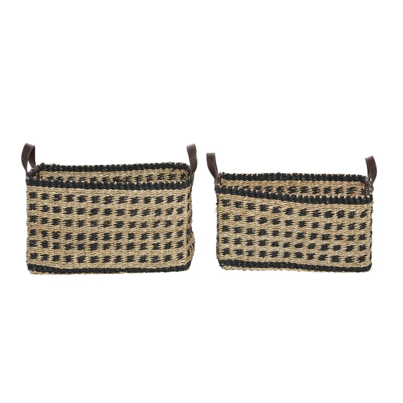 Longshore Tides 2 Piece Solid Wood Basket Set Wayfair