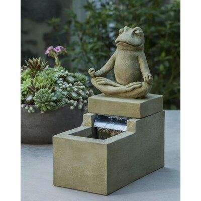 Image of Reales Concrete Mini Element Zen Frog Fountain August Grove Finish: Brownstone