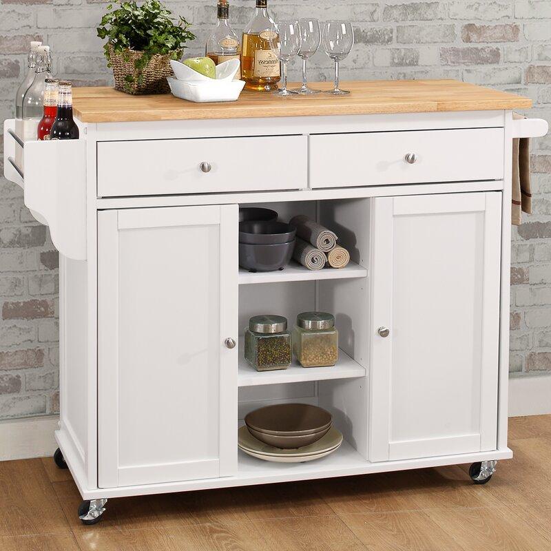 alcott hill brecht wood kitchen cart & reviews   wayfair