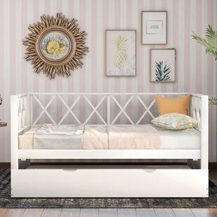 Dartford XShaped Wood Twin Platform Bed with Trundle by Isabelle amp Max