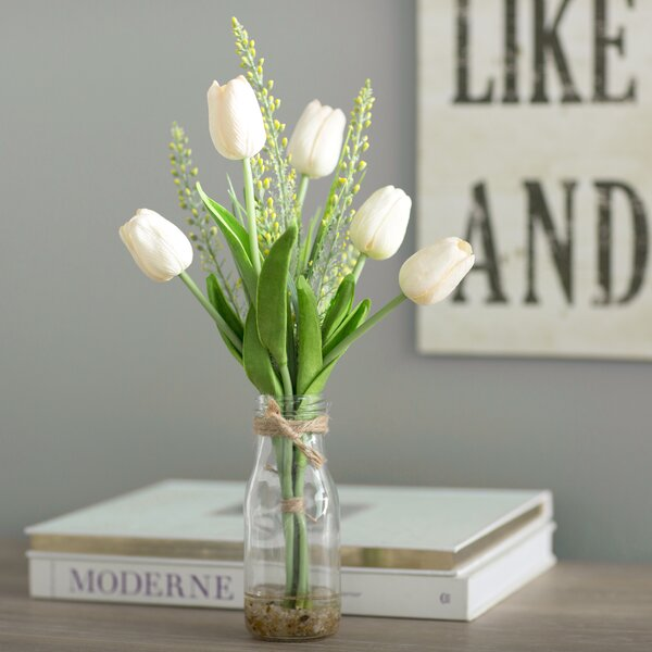 Laurel Foundry Modern Farmhouse White Tulips In Glass Vase Reviews