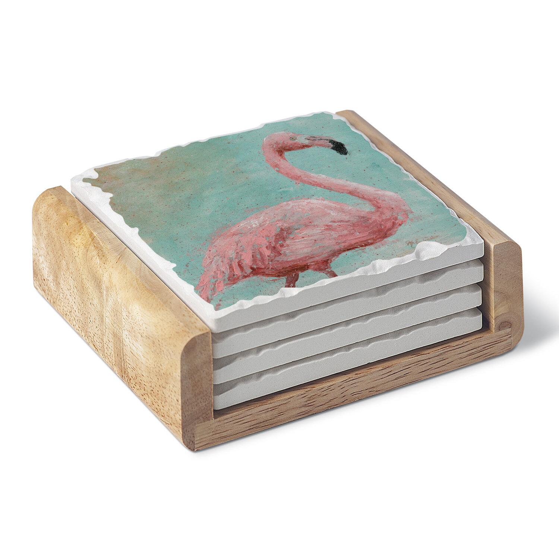 Bay Isle Home Flamingo Single Image Absorbent Stone Coaster Set With Holder Wayfair