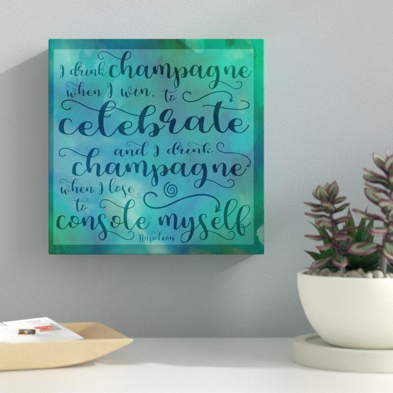 Latitude Run Champagne Celebrate Textual Art On Wrapped Canvas