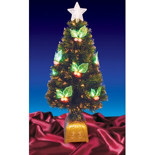4 color changing fiber christmas tree with led holly berries - Color Changing Christmas Tree Lights