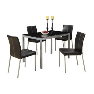 Ching Temper Glass and Metal Frame 5 Piece Dining Set