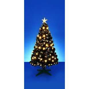 Fibre Optic 2.5ft Black Pine Artificial Christmas Tree with Warm White LEDs Lights with Stand