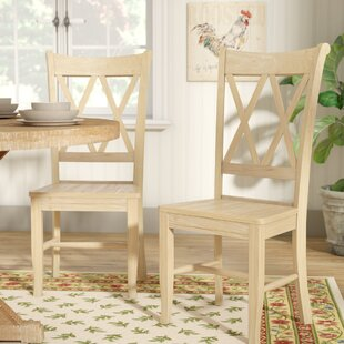 Lynn Cross Back Solid Wood Dining Chair (Set of 2) Mistana