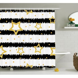 Sharlene Golden Stars and Dots Effect on Striped Pattern Party Celebration Theme Single Shower Curtain