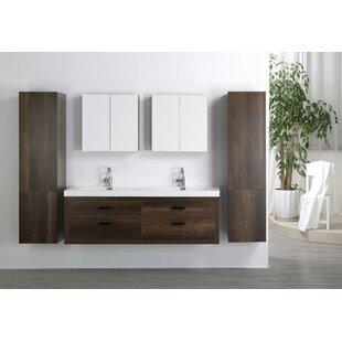 63 Wall Mounted Double Bathroom Vanity Set with Mirror
