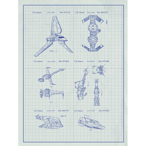 Inked and screened star wars ships blueprint graphic art wayfair star wars ships blueprint graphic art malvernweather Image collections