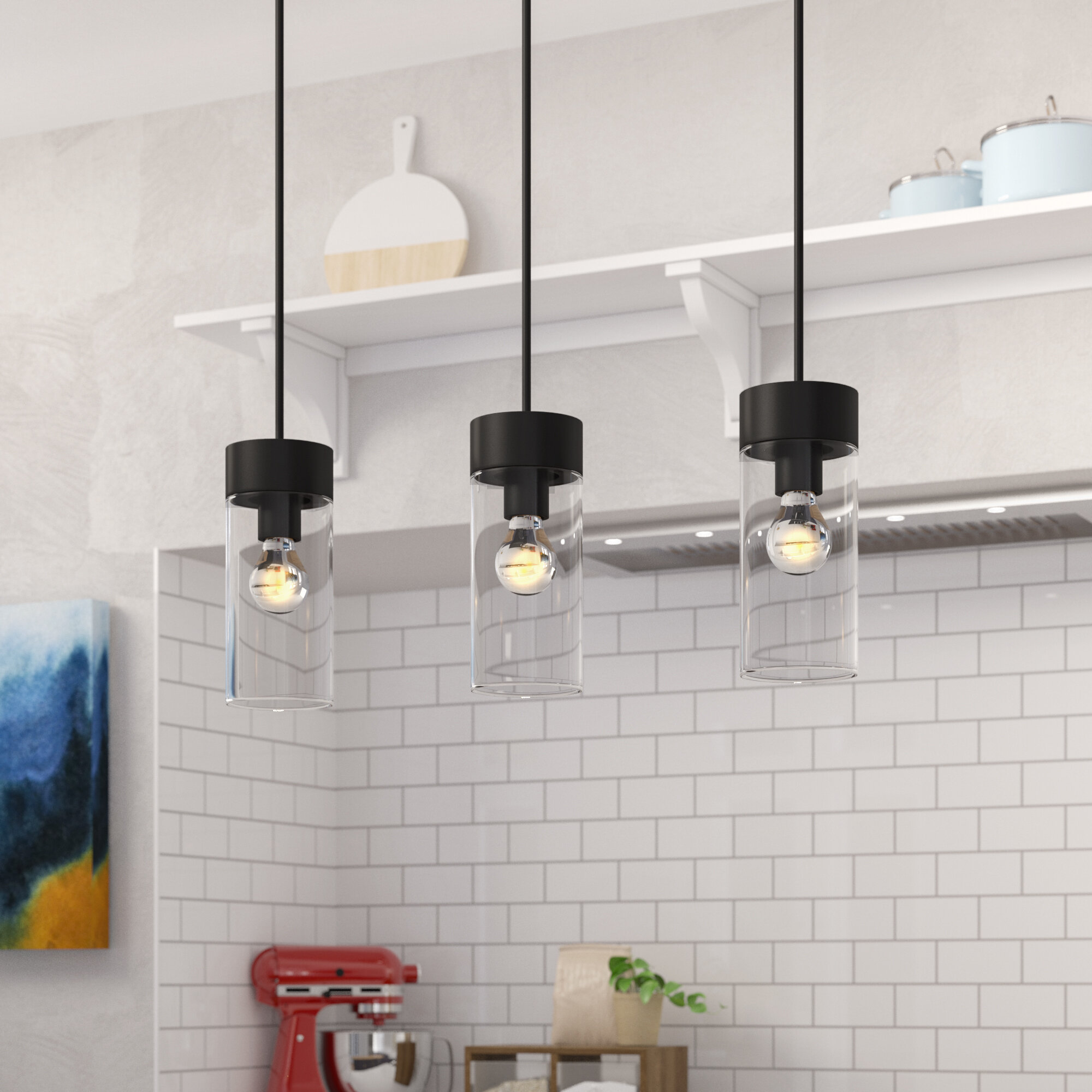 Picture of: Brayden Studio Daniell 3 Light Kitchen Island Linear Pendant Reviews