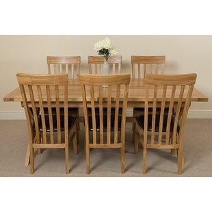 Baldev Kitchen Solid Oak Dining Set With 6 Chairs By Rosalind Wheeler
