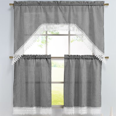 Window Elements Checkered 3 Piece Embroidered Kitchen Valance and Tier Set