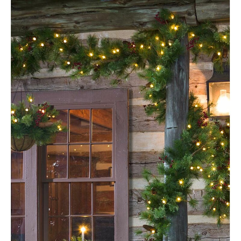 Lighted Outdoor Battery Operated Holiday Garland with Auto Timer - Plow & Hearth Lighted Outdoor Battery Operated Holiday Garland With