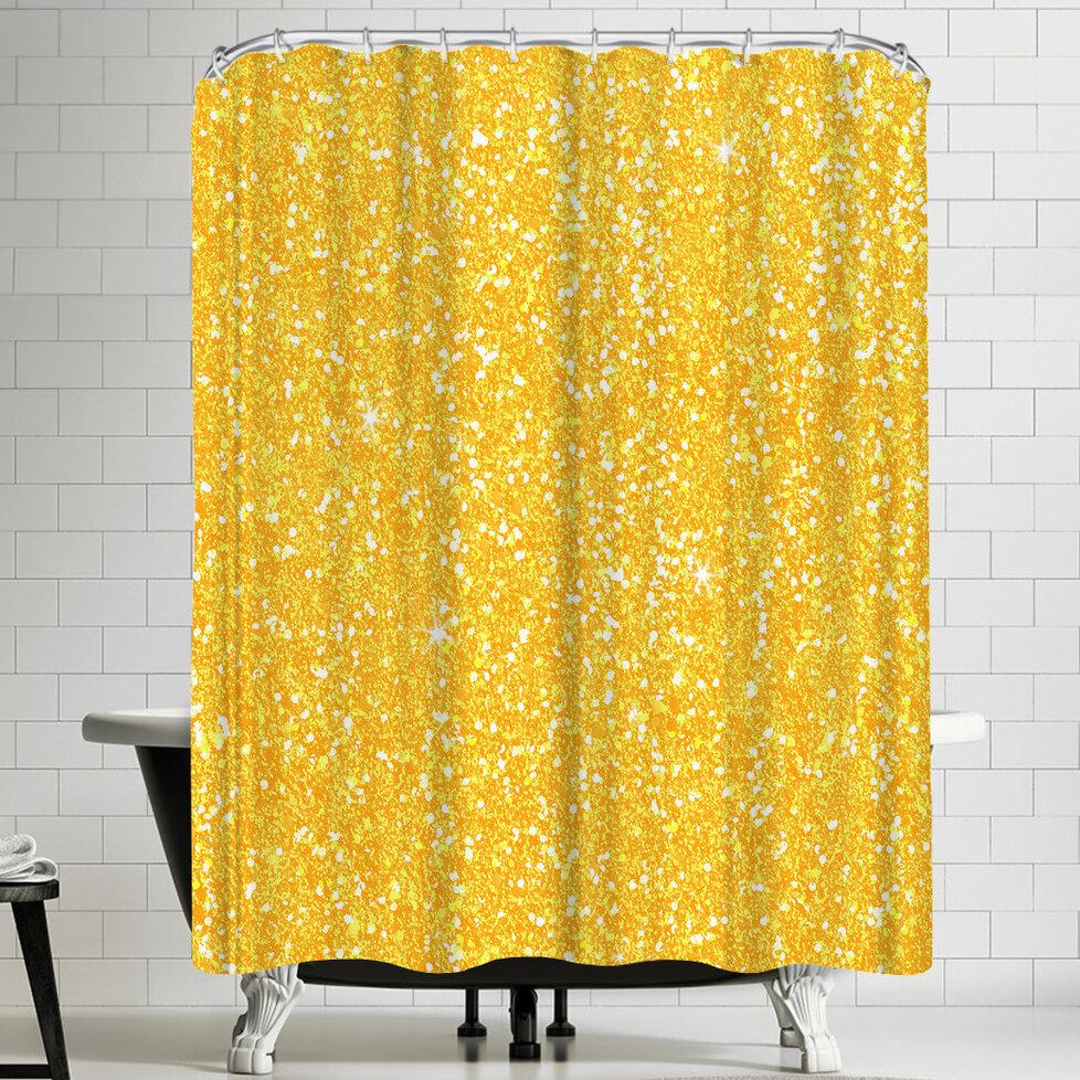 East Urban Home Wonderful Dream Yellow Shiny Diamond Single Shower Curtain Wayfair