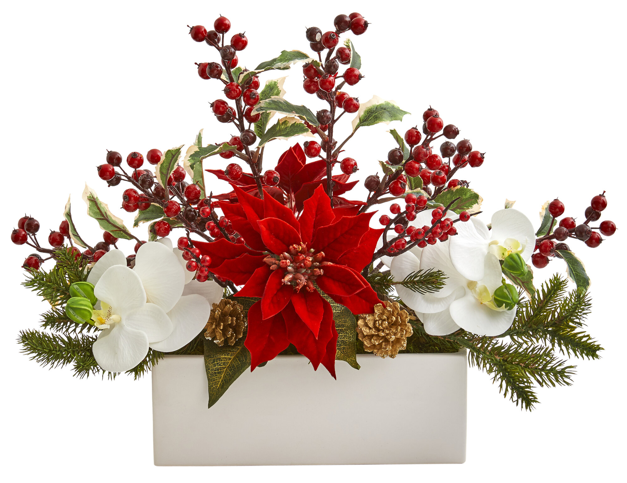 Christmas Flower Arrangements Artificial.Phalaenopsis Orchid Poinsettia And Holly Berry Artificial Mixed Floral Arrangement In Planter