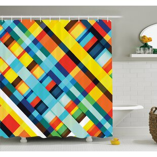 Vivid Lines Stripes with Diagonal Elements Retro Layout with Modern Touch Shower Curtain Set