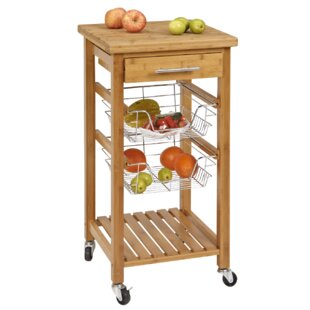 Lemasters Bamboo Kitchen Cart with Storage
