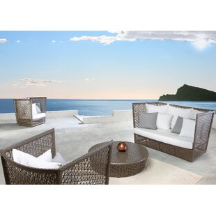 Maldives 4 Piece Rattan Sunbrella Sofa Seating Group with Cushions (Set of 4)