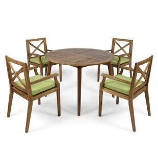 Geneva 5 Piece Teak Dining Set with Cushions