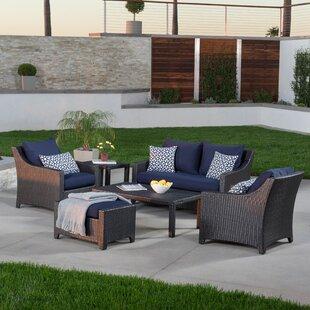 Three Posts Northridge 6 Piece Rattan Sunbrella Sofa Set with Cushions