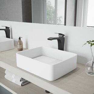Affordable Price VIGO Matte Stone Rectangular Vessel Bathroom Sink with Faucet By VIGO