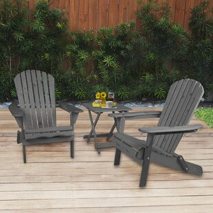 Debose Solid Wood Folding Adirondack Chair with Table