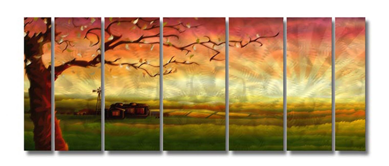 Amazing ash carl 'zion' 7-piece metal wall art set for your inspiration
