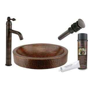 Check Prices Compact Skirted Metal Oval Vessel Bathroom Sink with Faucet ByPremier Copper Products