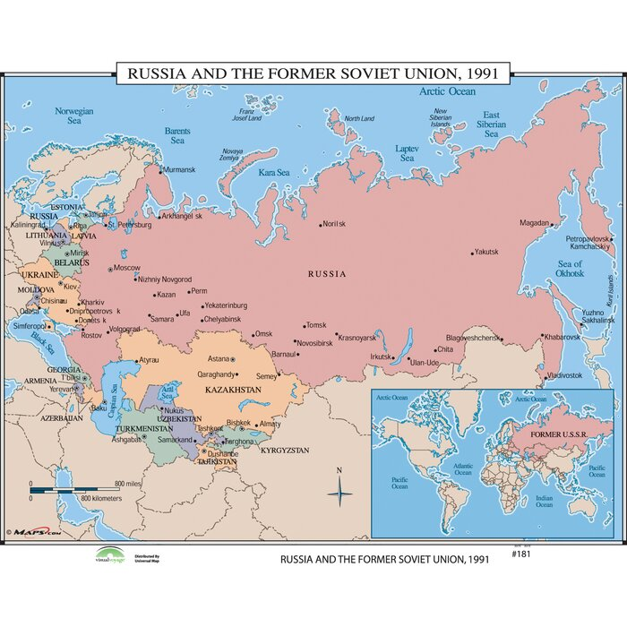 World History Wall Maps - Russia & the Former Soviet Union 1991