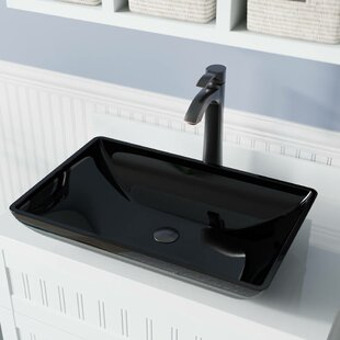 Online Reviews Glass Rectangular Vessel Bathroom Sink with Faucet ByMR Direct