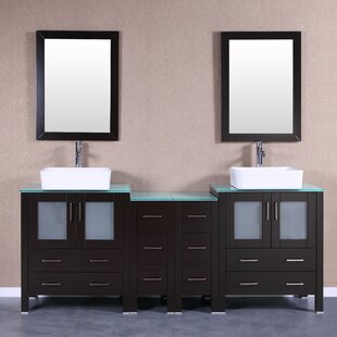 Mateo 84 Double Bathroom Vanity Set with Mirror by Bosconi