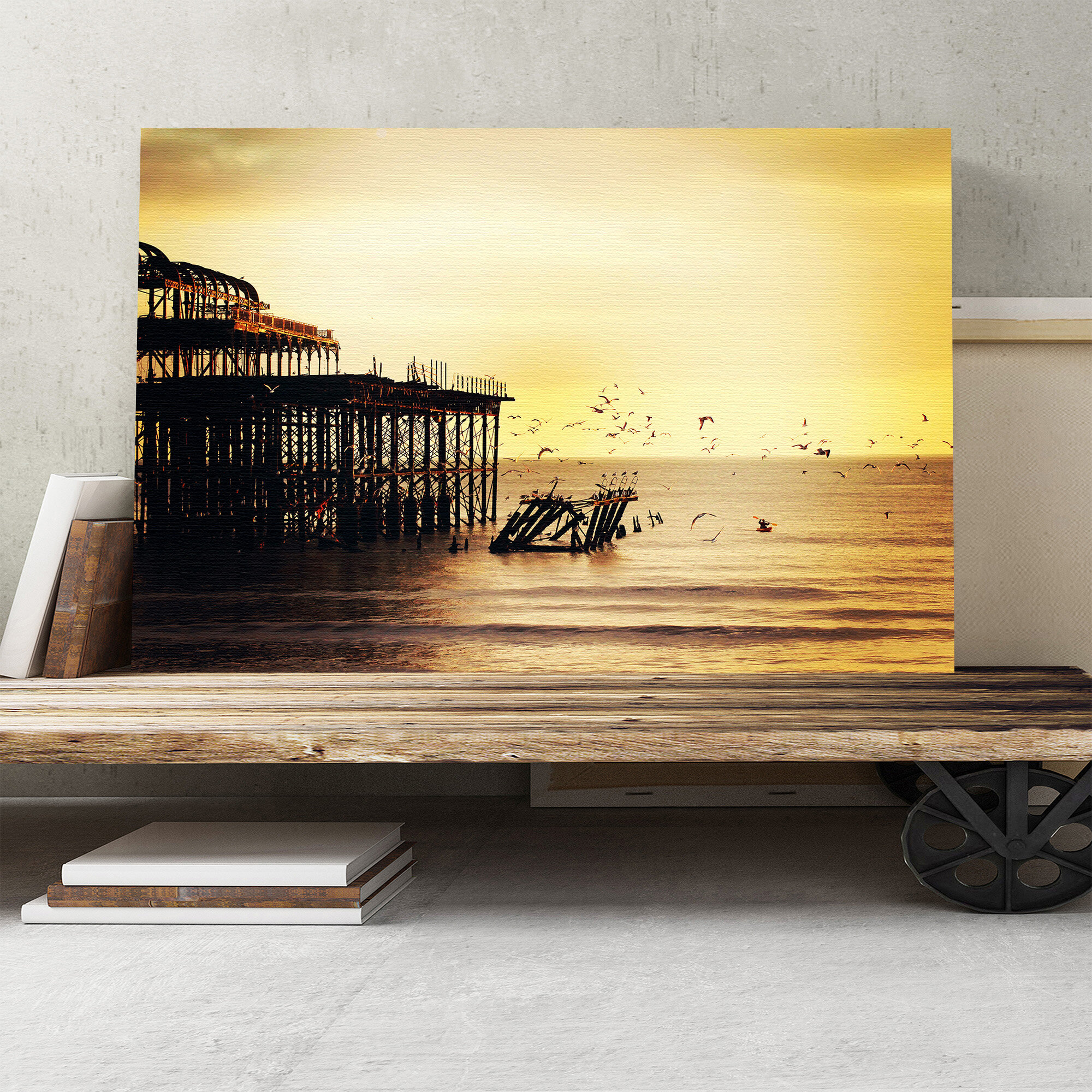 Seascape At Dawn With West Pier In Brighton Canvas Wall Art prints high quality