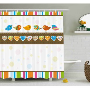 Zoomie Kids Lucille Stripes with Hearts Shower Curtain