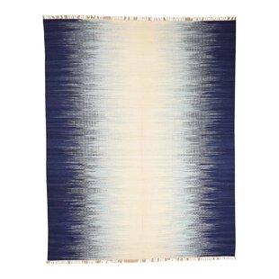 Best Reviews One-of-a-Kind Baldridge Flat Weave Ocean Burst Kilim Oriental Hand-Knotted Blue Area Rug By Isabelline