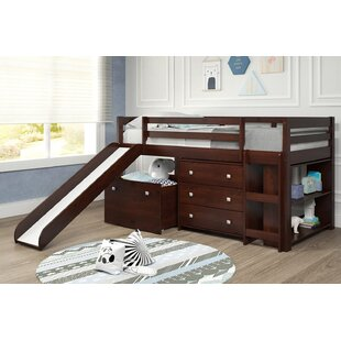 Renley Complete Twin Low Loft Bed with Drawer and Bookcase