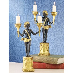French Neoclassical Cherub 2 Piece Candlestick Set
