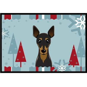 Winter Holiday Min Pin Doormat