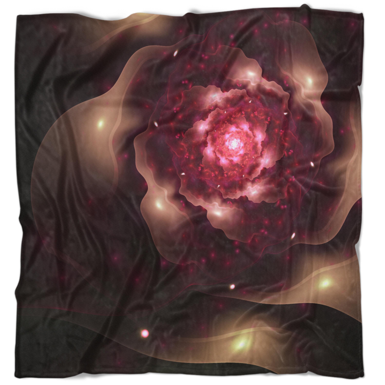 East Urban Home Floral Sparkling Fractal Digital Art Blanket Wayfair