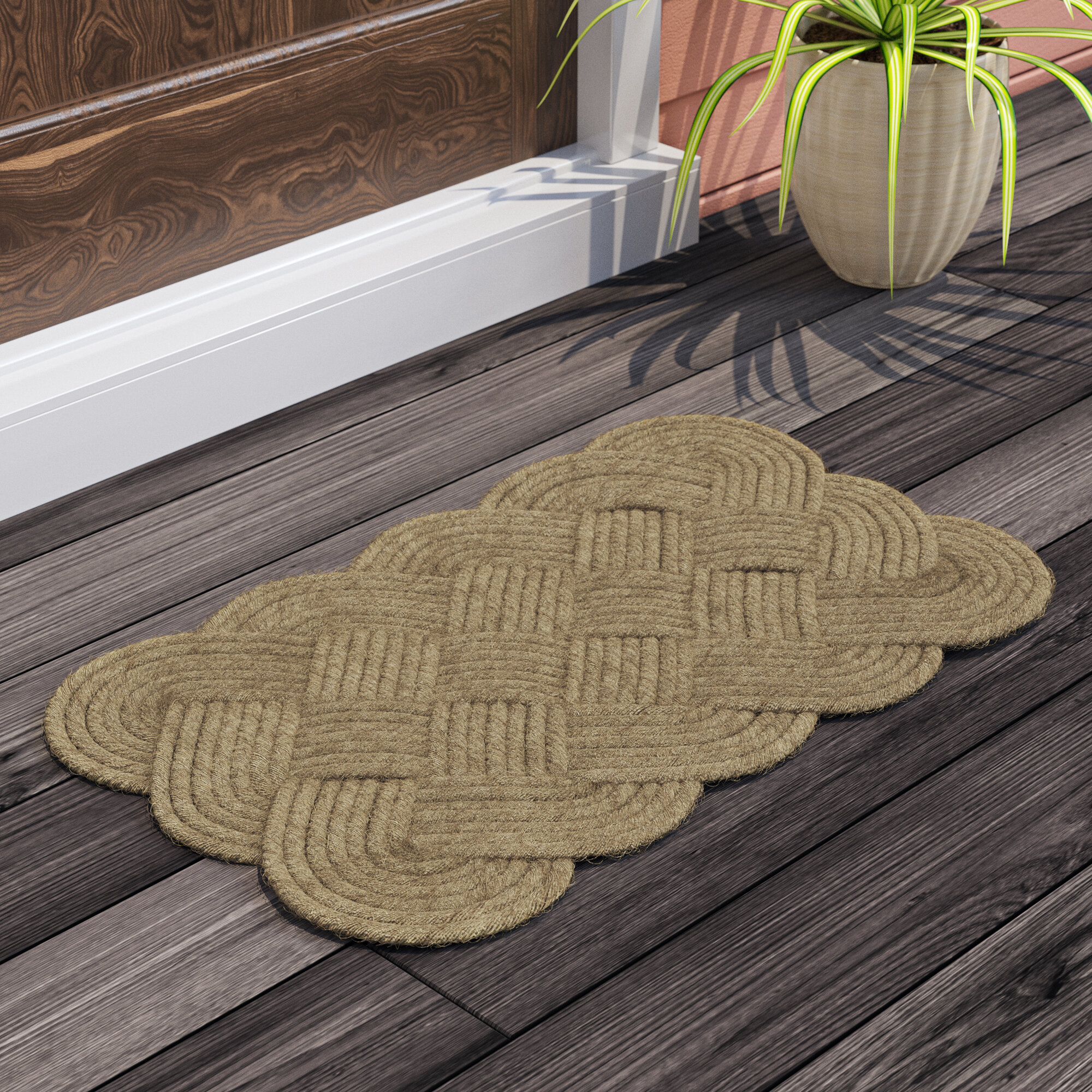 18-Inch by 30-Inch J /& M Home Fashions Oval Knot Woven Coco Doormat