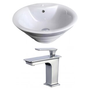 Above Counter Ceramic Circular Undermount Bathroom Sink with Faucet and Overflow by Royal Purple Bath Kitchen